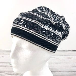 Point Zero black and white sequinned slouchy hat